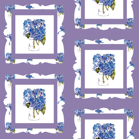 Hydrangea Frame fabric by karenharveycox on Spoonflower - custom fabric
