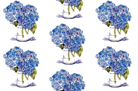 Hydrangea repeat fabric by karenharveycox on Spoonflower - custom fabric