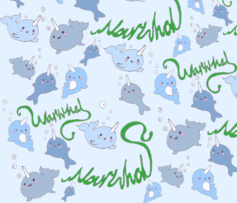 narwhal fabric by annanini on Spoonflower - custom fabric