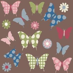 butterfly-flowers in flight -brown