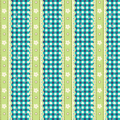 Green Lace Gingham fabric by eppiepeppercorn on Spoonflower - custom fabric