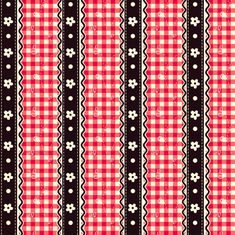 Dark Cherry Gingham & Black Lace fabric by eppiepeppercorn on Spoonflower - custom fabric