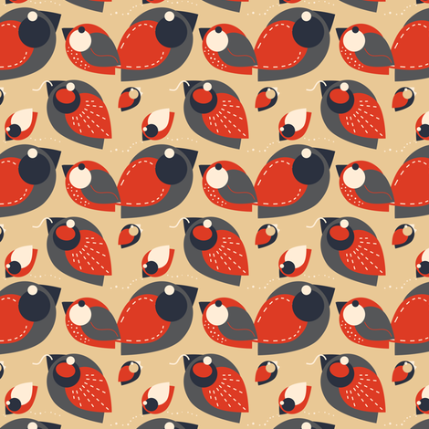 Retro Robin fabric by eppiepeppercorn on Spoonflower - custom fabric