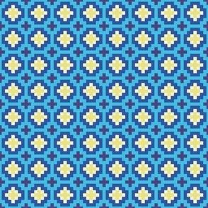 Cross-stitch, purple, blue, turqoise