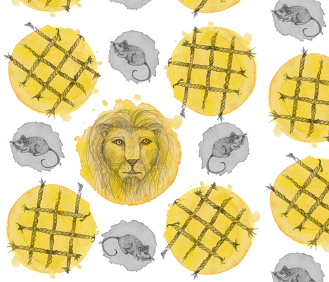 The_Lion_and_The_Mouse fabric by nat_olly on Spoonflower - custom fabric