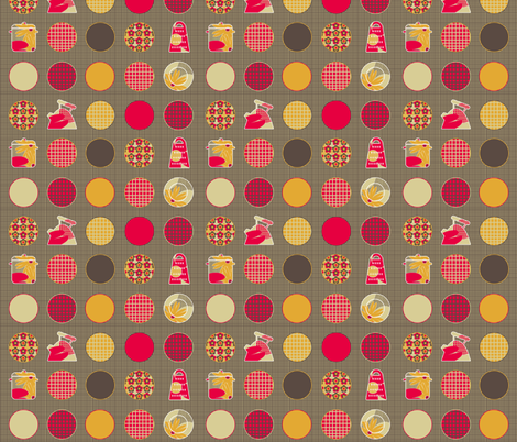 Hessian Kitchen Spots fabric by glanoramay on Spoonflower - custom fabric