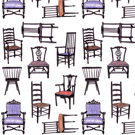 Vintage Chairs - Handrawn fabric by dianne_annelli on Spoonflower - custom fabric