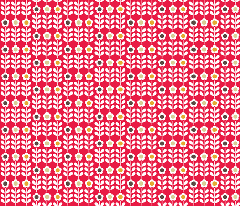 Red flower fabric by mondaland on Spoonflower - custom fabric