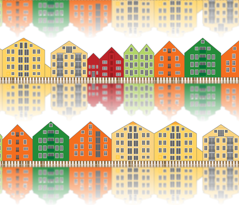 Trondheim storehouses in colour fabric by ebygomm on Spoonflower - custom fabric