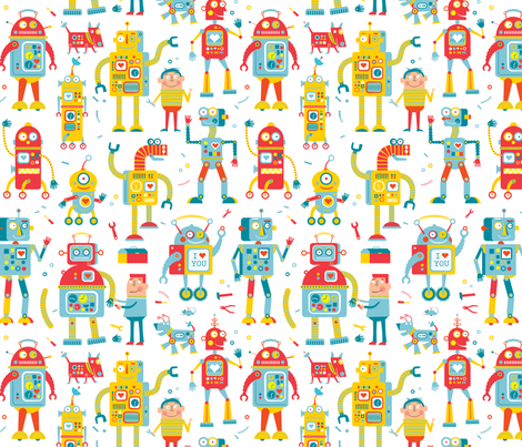 Robots fabric by edmillerdesign on Spoonflower - custom fabric