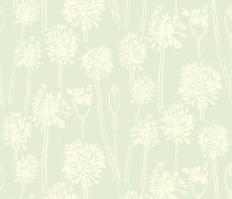 Allium, pale green and yellow fabric by joanmcguire on Spoonflower - custom fabric