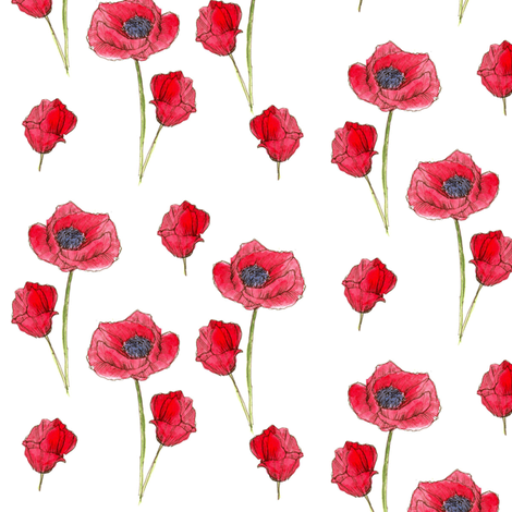Red Poppies fabric by countrygarden on Spoonflower - custom fabric