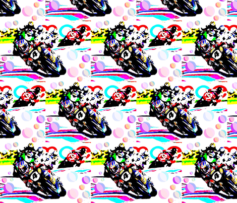 Motorbike racing fabric by vintage_visage on Spoonflower - custom fabric