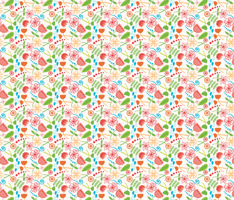 Hand drawn Flowers  fabric by jlwillustration on Spoonflower - custom fabric