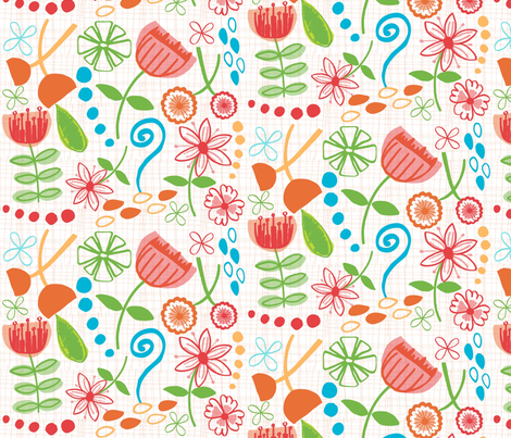 hand drawn flowers version 2  fabric by jlwillustration on Spoonflower - custom fabric