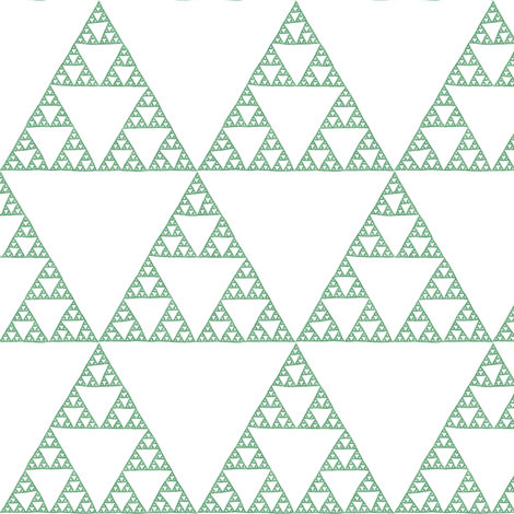 Sierpinski Triangle - green on white fabric by weavingmajor on Spoonflower - custom fabric
