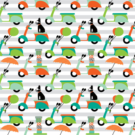 Milo Scooters Stripes fabric by natitys on Spoonflower - custom fabric