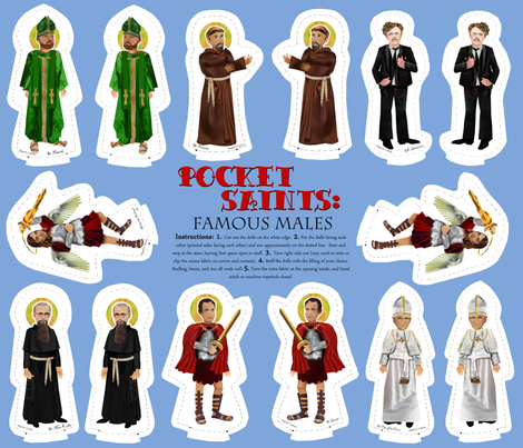 Pocket Saints: Famous Males fabric by magneticcatholic on Spoonflower - custom fabric