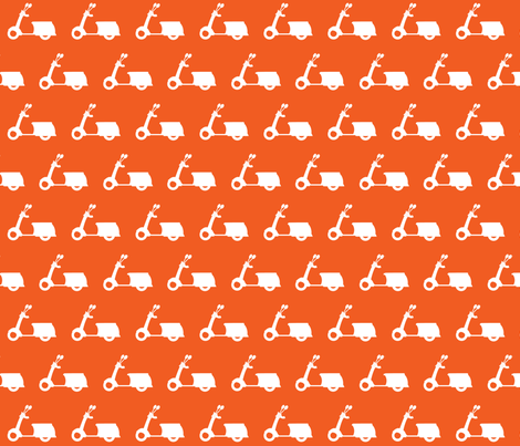 Scooters on Tangerine fabric by natitys on Spoonflower - custom fabric