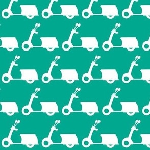 Scooters on Mint Green