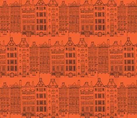 DutchHouses black on orange white-ch fabric by blue_jacaranda on Spoonflower - custom fabric