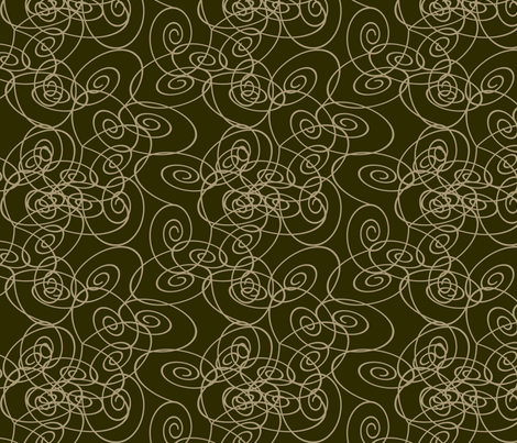 Spirals - Taupe on Dark Olive fabric by maplewooddesignstudio on Spoonflower - custom fabric