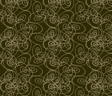 Spirals - Taupe on Dark Olive