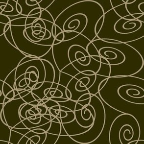 Spirals - Taupe on Dark Olive