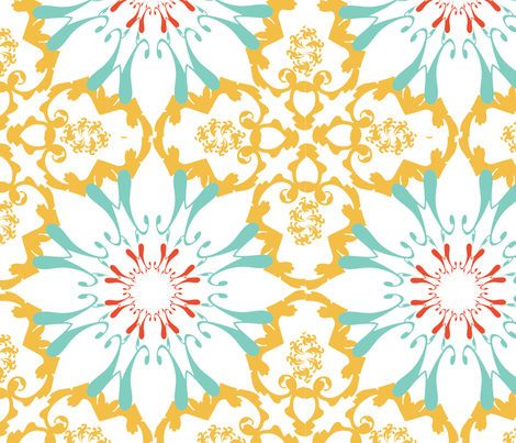 Yellow Sunflower Lace fabric by pi&e on Spoonflower - custom fabric