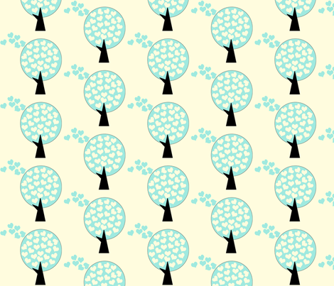 Love Tree in Blue fabric by anikabee on Spoonflower - custom fabric