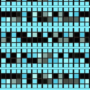 Black and Aqua Tiled Mosaic © Gingezel™ 2012