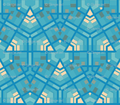Aqua Hexagons © Gingezel™ 2012