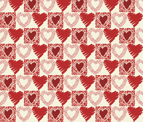 hearts fabric by dogsndubs on Spoonflower - custom fabric