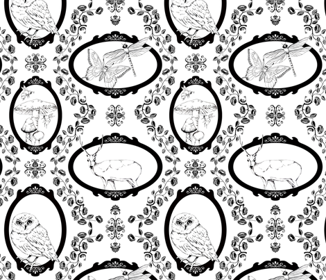 Woodland Enchantment - B/w fabric by uzumakijo on Spoonflower - custom fabric