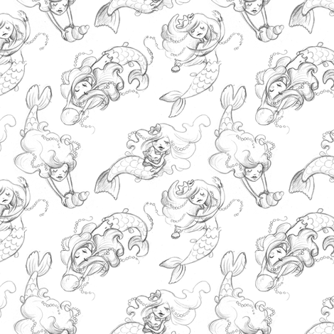 Mermaid Sketches fabric by irrimiri on Spoonflower - custom fabric