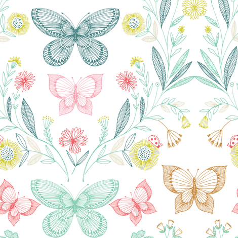 botanical butterflies fabric by bethan_janine on Spoonflower - custom fabric