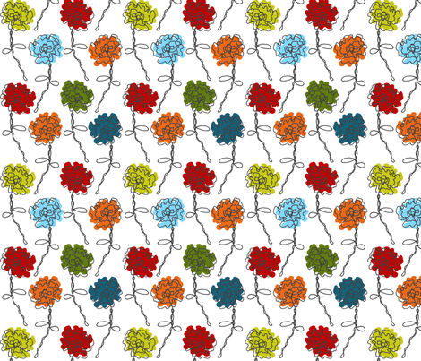 Colorful Doodled Wire Rose fabric by kdl on Spoonflower - custom fabric