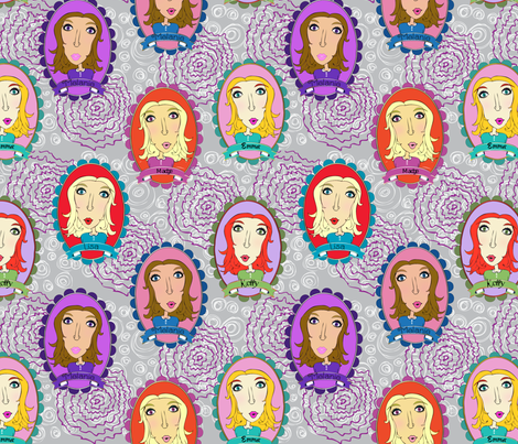 The Girls - Hand Drawn  fabric by shannonkornis on Spoonflower - custom fabric