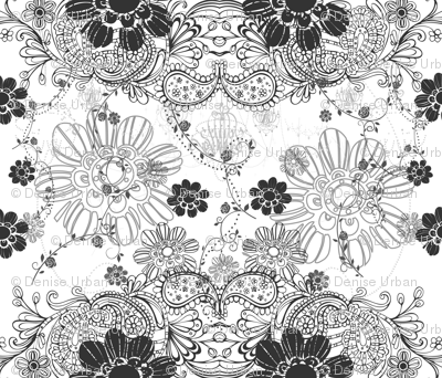 DECO B&W Scatter Floral