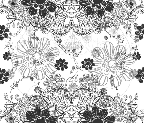 DECO B&W Scatter Floral fabric by deeniespoonflower on Spoonflower - custom fabric