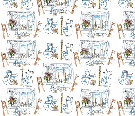 Breakfast Window Toile fabric by macdesign on Spoonflower - custom fabric