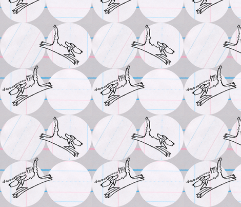 Bad Dog Lined Paper fabric by joybucket on Spoonflower - custom fabric