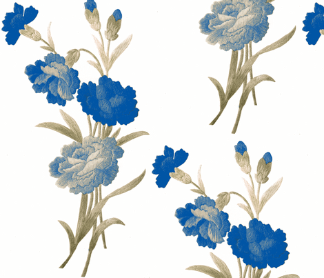 Blue Shaded Vintage carnations fabric by vintage_visage on Spoonflower - custom fabric