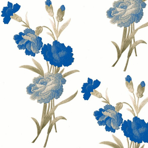 Blue Shaded Vintage carnations