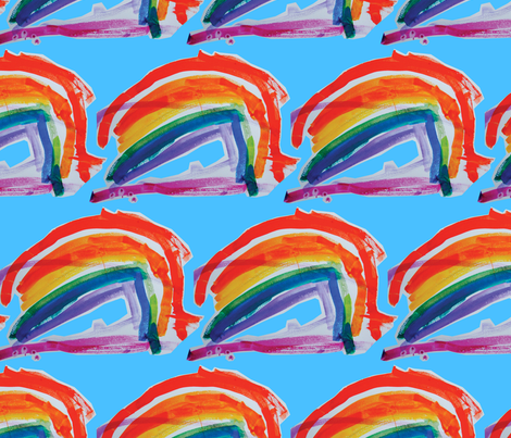 I can sing a rainbow - (blue sky) by Lyra (age 2 1/2) fabric by coggon_(roz_robinson) on Spoonflower - custom fabric