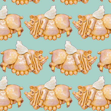 Flying Pigs on blue fabric by sufficiency on Spoonflower - custom fabric