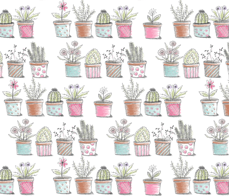 Pots in a Row fabric by littlerhodydesign on Spoonflower - custom fabric