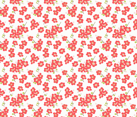 Cherry Blossom - cherry popsicle color fabric by littlerhodydesign on Spoonflower - custom fabric