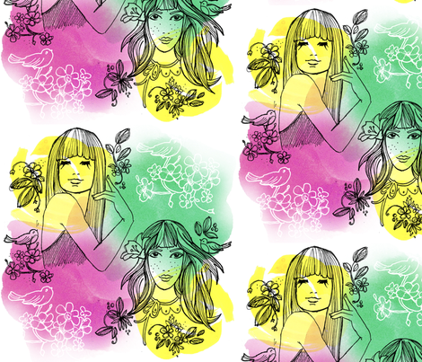springgirls fabric by joyfulfabric on Spoonflower - custom fabric