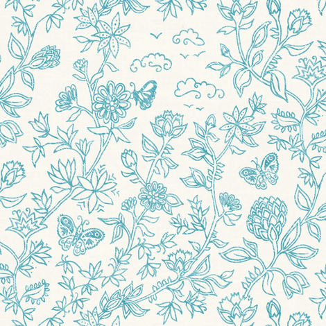 Palace Garden | Turquoise fabric by forest&sea on Spoonflower - custom fabric